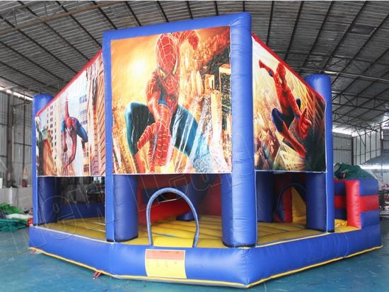 Spiderman inflatable jumping castle with slide