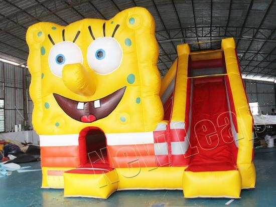 cheap Spongebob Combo Inflatable Bouncer Castle with Slide