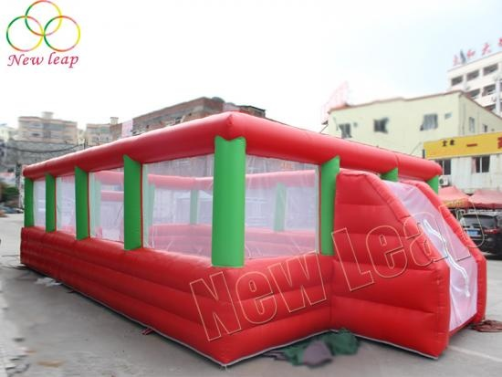 red-green inflatable soccer field