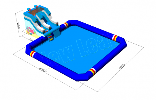 small inflatable slide with big water pool