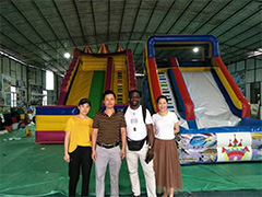 Customers from Africa have visited our factory and placed order for inflatable weter slides